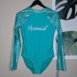 🌴 Cat and Jack Mermaid Swim Suit Long Sleeves NEW